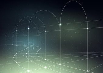 Cosmic, technology background. Thin curved lines with glowing dots on a gradient mesh.