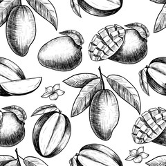 Vector mango  hand drawn sketch.  Vector seamless pattern.  Vintage style