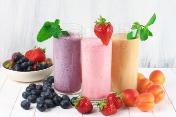 Various milkshakes with fruits