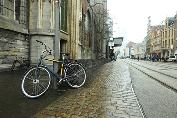 Bicycle on a typical street of Ghent, Belgium
