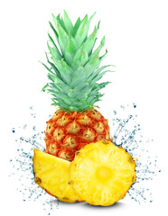 pineapple splash isolated