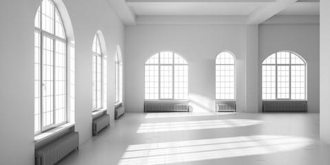 White empty loft interior.