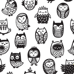 Seamless pattern with ink owls. Tribal art