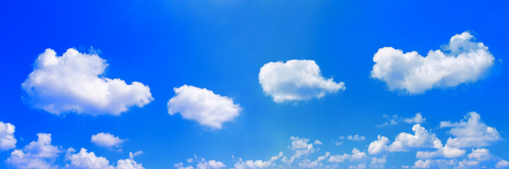 panorama of white clouds on blue sky