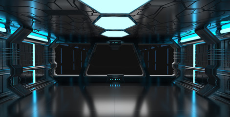 Spaceship blue interior with empty window 3D rendering elements