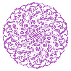Mandala ornament with hand drawn flowers. Round template. Decorative element  can be used for greeting card, wedding invitation. Doodle emblem.
