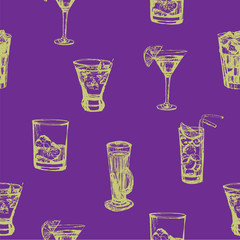 Background seamless pattern of soft drinks on a purple background, hand-drawn sketch vector illustration