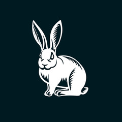Rabbit illustration on black background.