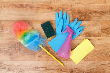 Cleaning tools on a parquet floor