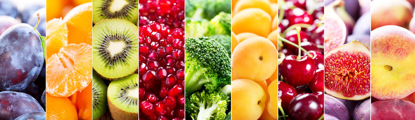 collage of fresh fruits and vegetables Wall mural