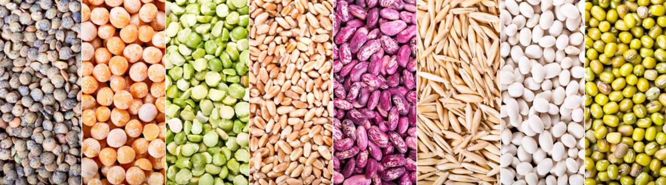 collage of various cereals, seeds, beans and grains