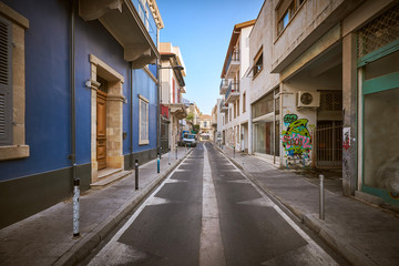 Empty street of Limassol city in Cyprus
