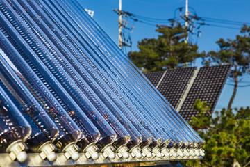 Solar panels on background blue sky. Alternative sources of electricity.
