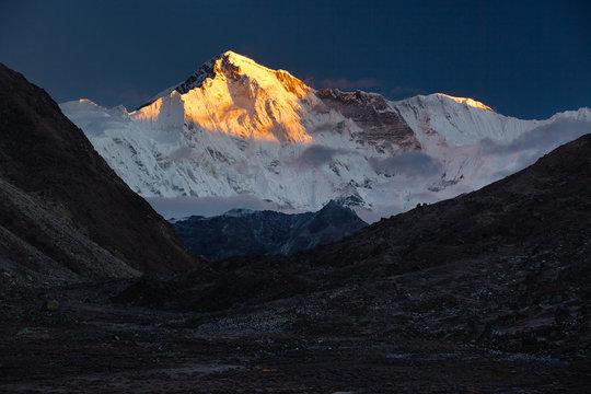 Cho Oyu (8,201 m) - The Goddess of Turquoise. Nepal, Himalayas, Sagarmatha National Park, view on Cho Oyu (8,201 m) from the Gokyo Village (4,970 m