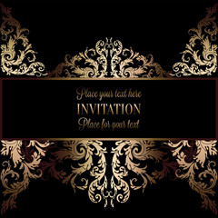 Vintage gold invitation or wedding card on black background, divider, header, ornamental lacy vector frame