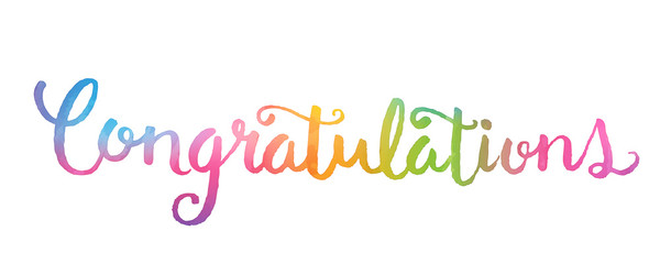 CONGRATULATIONS Banner in watercolour hand lettering