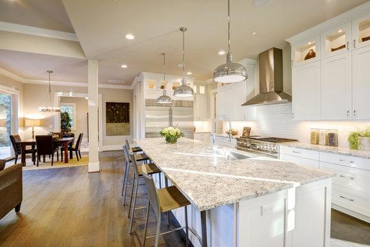 White kitchen design in new luxurious home