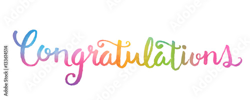 congratulations banner in watercolour hand lettering stock image