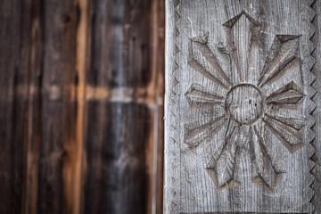 Wood carving detail in Maramures, Romania