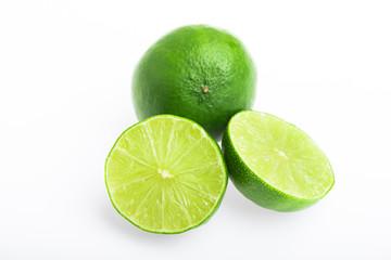 Thai lime slices on white background