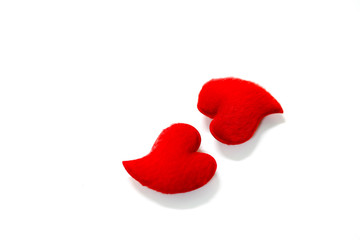 The two red hearts on white background