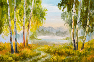 Oil Painting landscape, summer forest with a road
