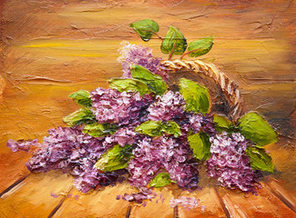 Oil painting on canvas, still life flowers on the floor, lilac