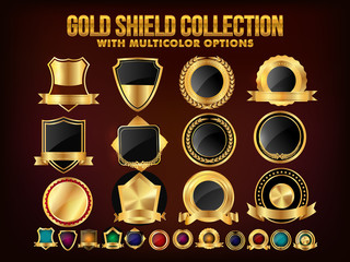 Set of Golden Shield, Stickers, Labels or Ribbons.