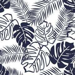 Palm and monstera leaves silhouettes background. Vector seamless pattern with tropical plants. Jungle foliage illustration. Black and white.