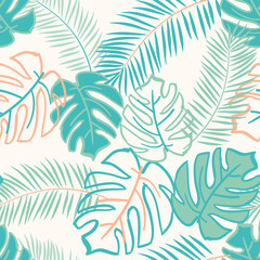 Palm and monstera leaves on the white background. Vector seamless pattern with tropical plants. Jungle foliage illustration. Green and orange.