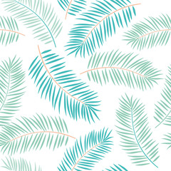 Palm leaves on the white background. Vector seamless pattern with tropical plants. Jungle foliage illustration.