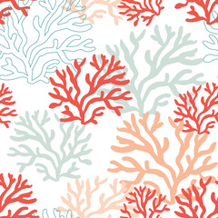 Red, pink and mint corals on the white background. Vector seamless pattern with tropical reef. Nautical doodles.