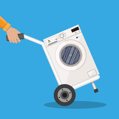 Metallic hand truck with washing machine