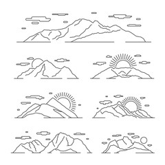 Wall Mural - Linear mountains vector illustration. Line mountain alps landscape set