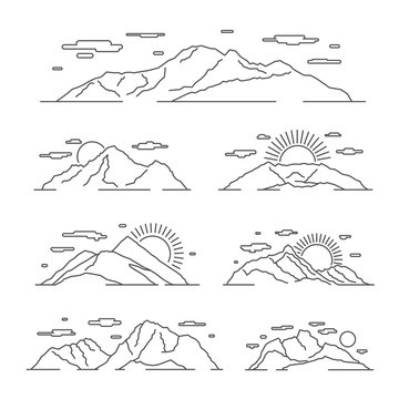 Linear mountains vector illustration. Line mountain alps landscape set