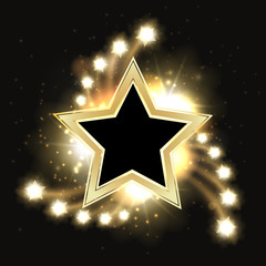 Stars vector sparkling gold background design with star frame
