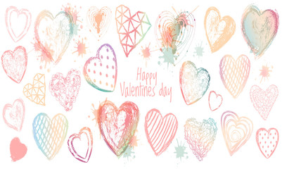 Vector valentines day set of watercolor hearts. Happy valentines day quote.