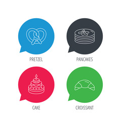 Colored speech bubbles. Croissant, pretzel and pancakes icons. Sweet cake linear sign. Flat web buttons with linear icons. Vector