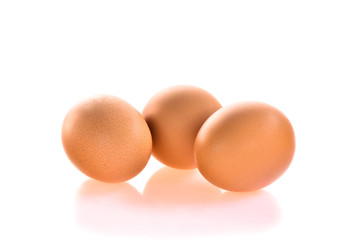 Three eggs isolted on white background