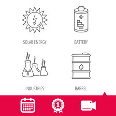 Achievement and video cam signs. Solar energy, battery and oil barrel icons. Industries linear sign. Calendar icon. Vector