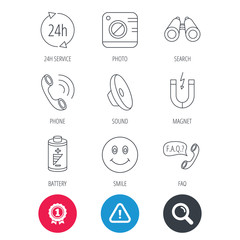Achievement and search magnifier signs. Phone call, battery and faq speech bubble icons. 24h service, photo camera and sound linear signs. Smile and search icons. Hazard attention icon. Vector