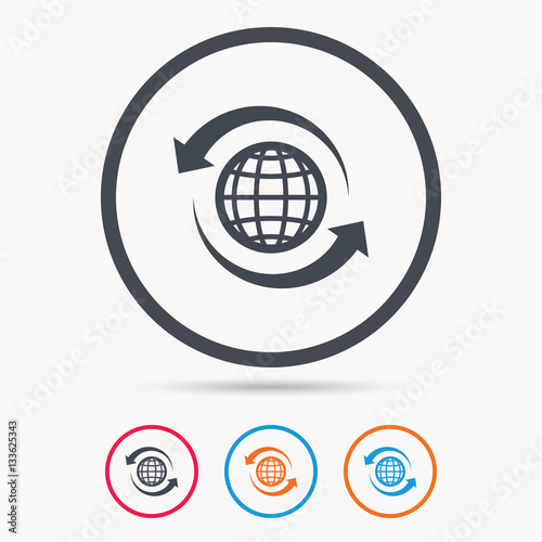 Globe icon  World or internet symbol  Colored circle buttons