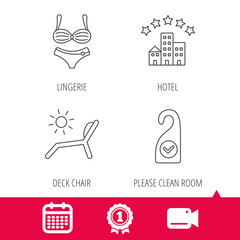 Achievement and video cam signs. Hotel, lingerie and beach deck chair icons. Clean room linear sign. Calendar icon. Vector