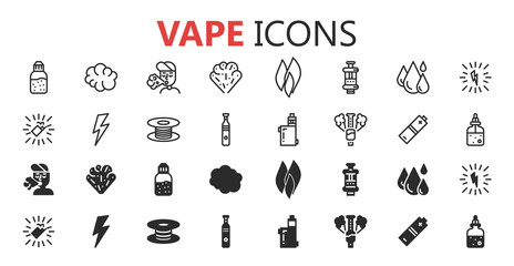 Simple modern set of vape icons. Premium symbol collection. Vector illustration. Simple pictogram pack.