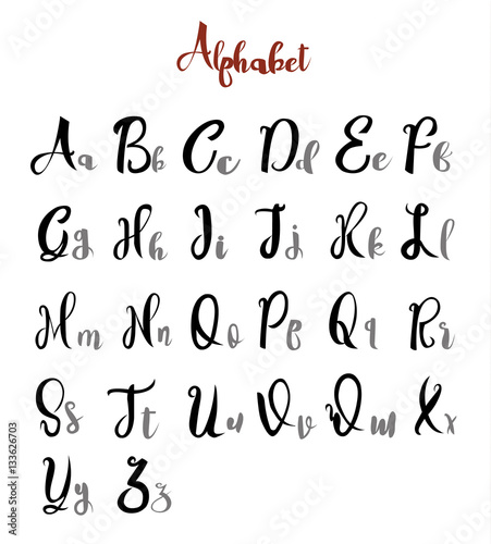 alphabet letters lettering calligraphy vector