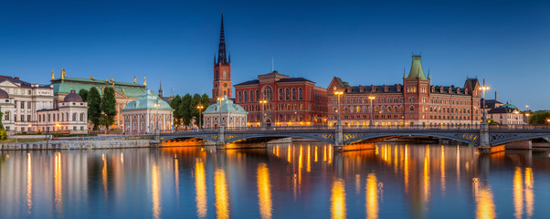 In de dag Stockholm Panorama of Stockholm. Panoramic image of Stockholm, Sweden during twilight blue hour.
