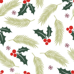 Christmas background with holly leaf design