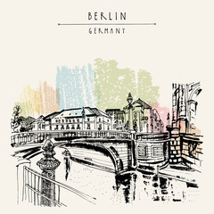 Monbijou bridge in Berlin, Germany, Europe. River Spree, riverside. Hand drawing. Travel sketch. Vintage touristic postcard, poster, book illustration