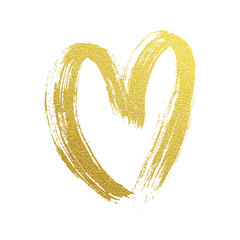 Valentine gold heart hand drawn vector icon