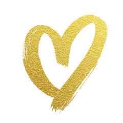 Valentine gold heart hand drawn vector icon